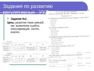 Задания по развитию регулятивных УУД Задание №1. Цель: развитие таких умений,