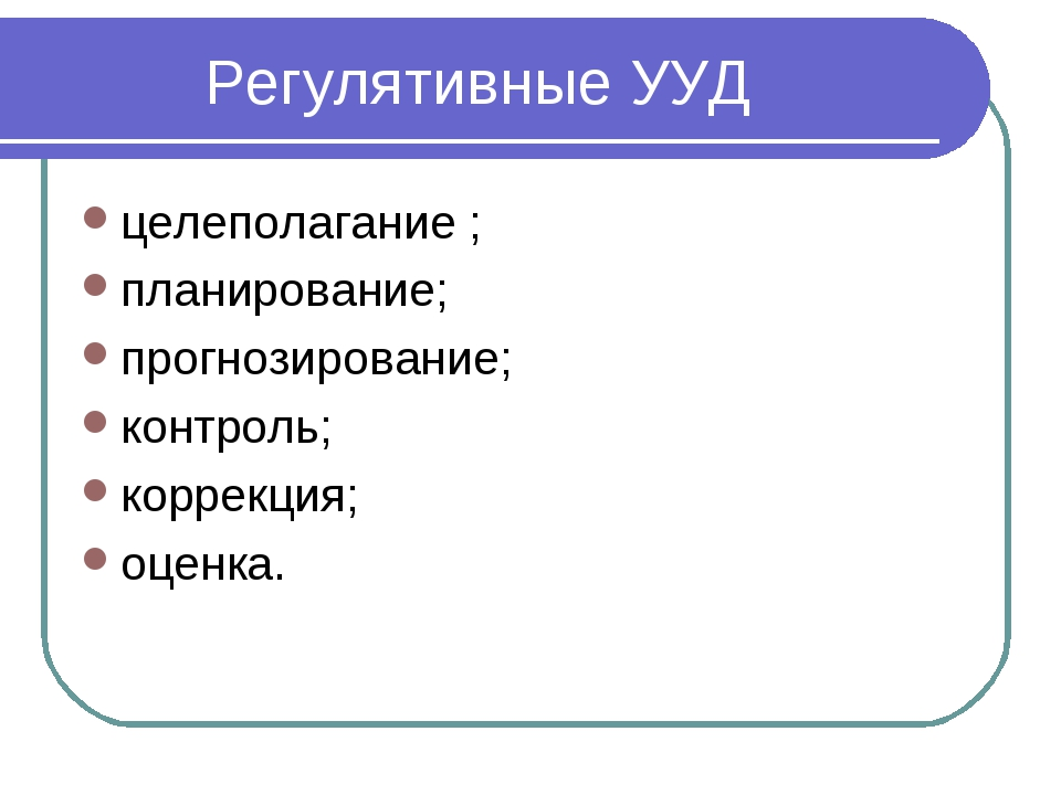 Регулятивные УУД целеполагание ; планирование; прогнозирование; контроль; ко...