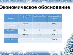 Экономическое обоснование Затраты стоимость ед.(руб.) Количество(шт.) общаяст