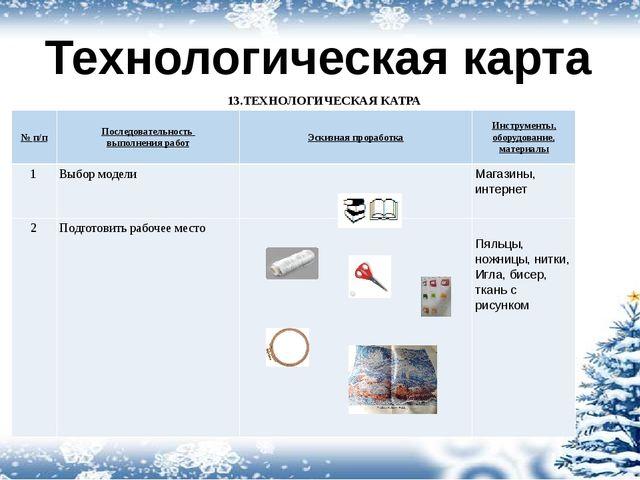 Технологическая карта 13.ТЕХНОЛОГИЧЕСКАЯ КАТРА № п/п Последовательность выпол...