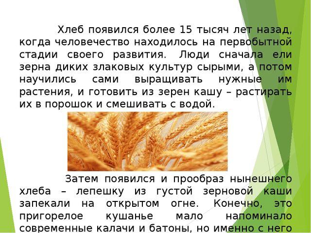 Хлеб появился более 15 тысяч лет назад, когда человечество находилось на пер...