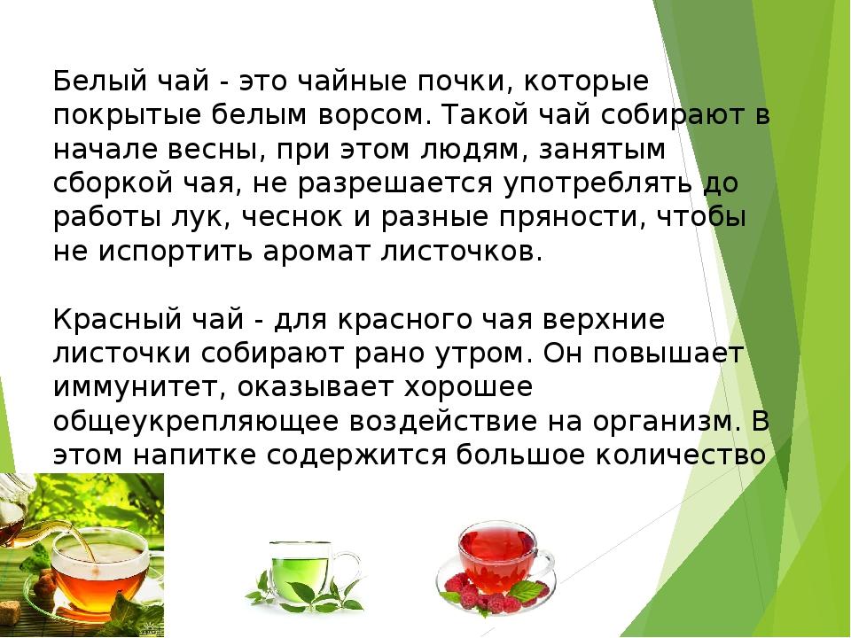 Белый чай - это чайные почки, которые покрытые белым ворсом. Такой чай собира...