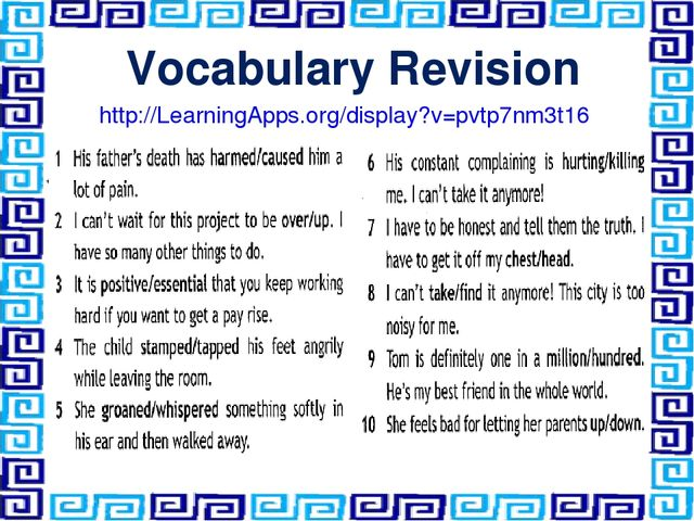 Vocabulary Revision http://LearningApps.org/display?v=pvtp7nm3t16