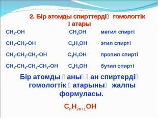 2. Бір атомды спирттердің гомологтік қатары СН3-ОН СН3ОН метил спирті СН3-С
