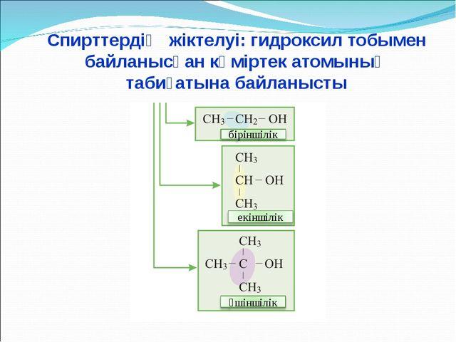 Спирттердің жіктелуі: гидроксил тобымен байланысқан көміртек атомының табиға...