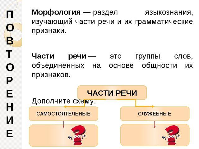 Морфология—раздел языкознания, изучающий части речи и их грамматические при...