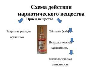 Схема действия наркотического вещества Прием вещества Защитная реакция Эйфори