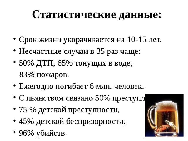 Статистические данные: Срок жизни укорачивается на 10-15 лет. Несчастные слу...