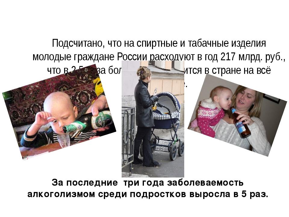 Подсчитано, что на спиртные и табачные изделия молодые граждане России расхо...