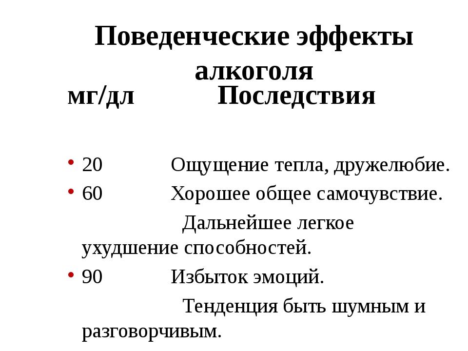 Поведенческие эффекты алкоголя мг/дл Последствия 20  Ощущение тепл...