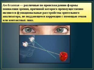 Амблиопия— различные по происхождению формы понижения зрения, причиной которо