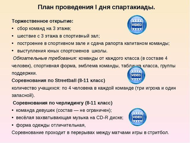 План проведения I дня спартакиады.  Торжественное открытие: сбор команд на 3...