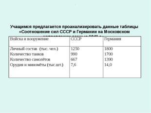 Учащимся предлагается проанализировать данные таблицы «Соотношение сил СССР