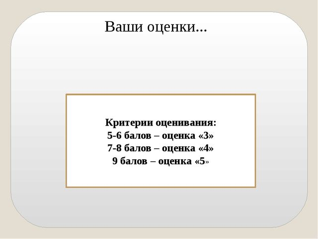 Ваши оценки... Критерии оценивания: 5-6 балов – оценка «3» 7-8 балов – оценк...