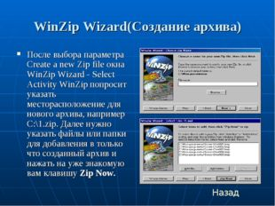 WinZip Wizard(Создание архива) После выбора параметра Create a new Zip file о
