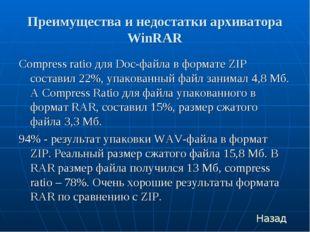 Преимущества и недостатки архиватора WinRAR Compress ratio для Doc-файла в фо