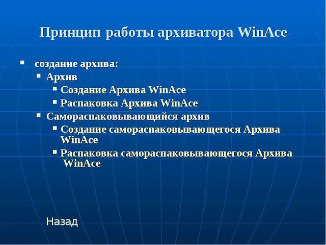 Принцип работы архиватора WinAce создание архива: Архив Создание Архива WinAc...
