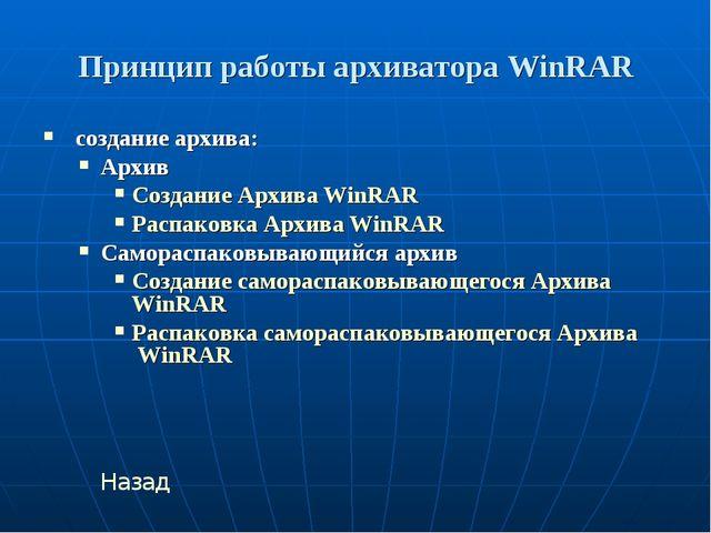Принцип работы архиватора WinRAR создание архива: Архив Создание Архива WinRA...