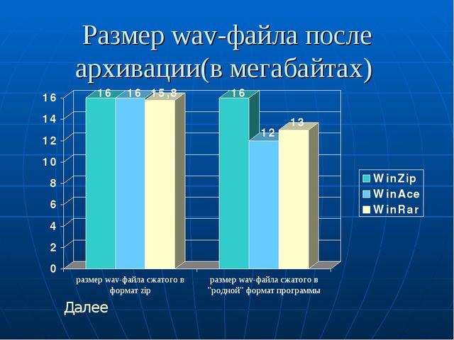 Размер wav-файла после архивации(в мегабайтах) Далее