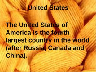 United States The United States of America is the fourth largest country in t