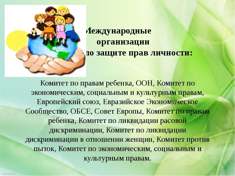 Международные  организации  по защите прав личности: Комитет по пр...