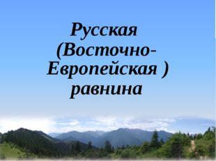 Русская (Восточно-Европейская ) равнина