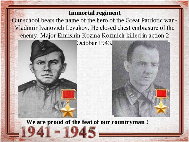 Immortal regiment Our school bears the name of the hero of the Great Patriot...