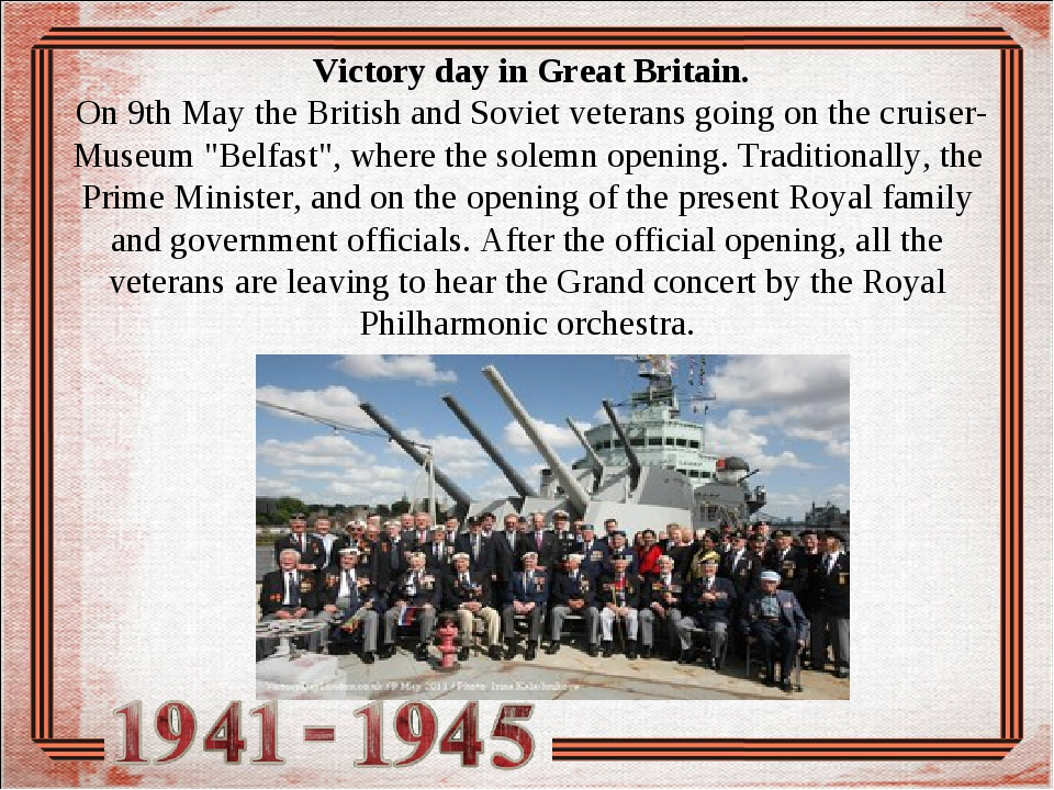 Victory day in Great Britain. On 9th Мay the British and Soviet veterans goi...