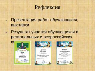 Рефлексия Презентация работ обучающихся, выставки Результат участия обучающих