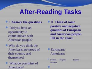 After-Reading Tasks I. Answer the questions. Did you have an opportunity to