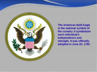 The American Bald Eagle is the national symbol of the country. It symbolizes