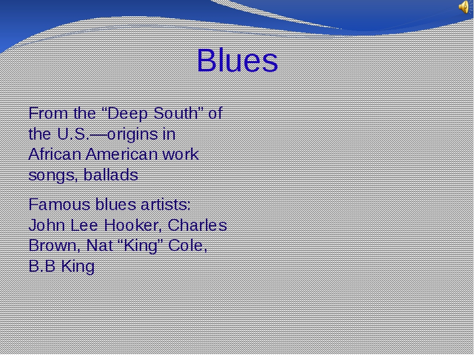 """Blues From the """"Deep South"""" of the U.S.—origins in African American work song..."""