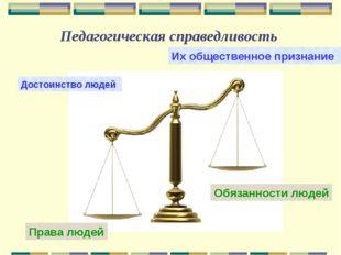 Педагогическая справедливость Достоинство людей Их общественное признание Пра