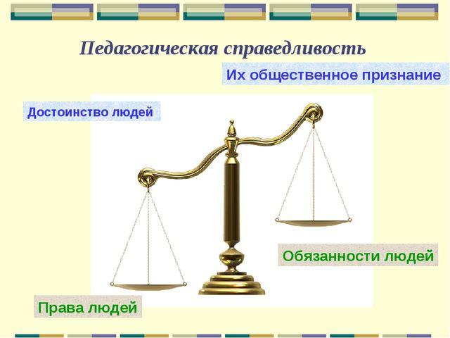 Педагогическая справедливость Достоинство людей Их общественное признание Пра...