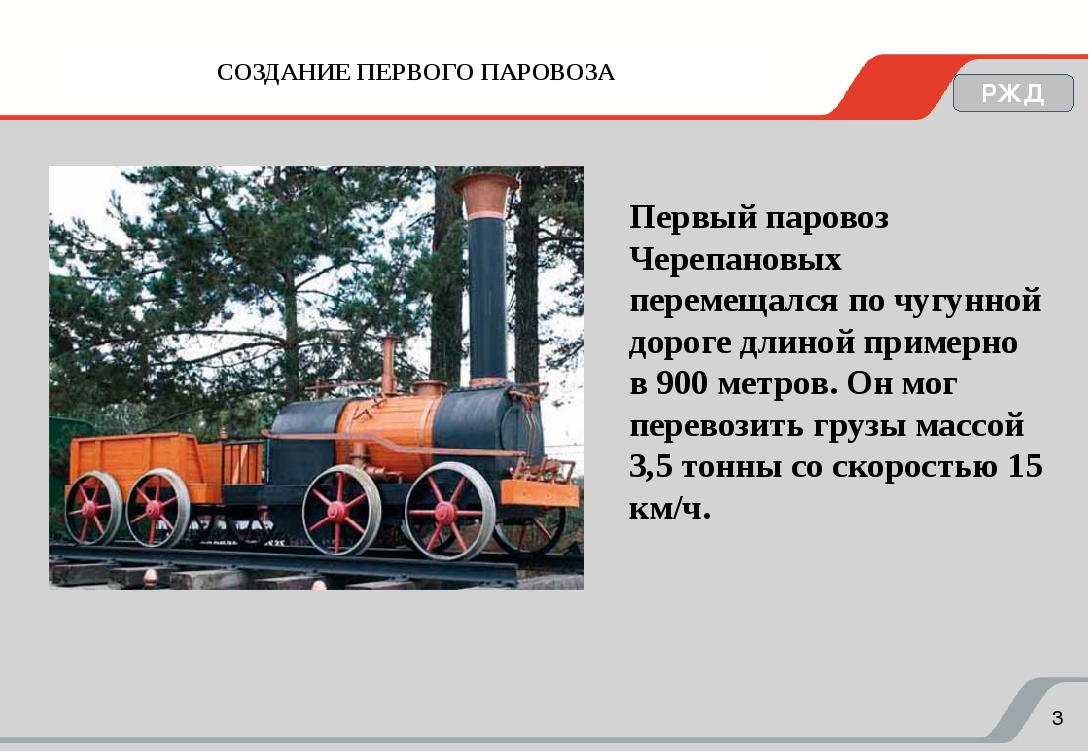 СОЗДАНИЕ ПЕРВОГО ПАРОВОЗА РЖД Первый паровоз Черепановых перемещался по чугун...