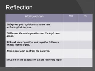 Reflection Now you can YES NO 1)Express your opinion about the new technologi
