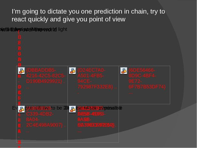 I'm going to dictate you one prediction in chain, try to react quickly and gi...