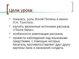 Цели урока: показать роль Ясной Поляны в жизни Л.Н. Толстого; изучить жизненн