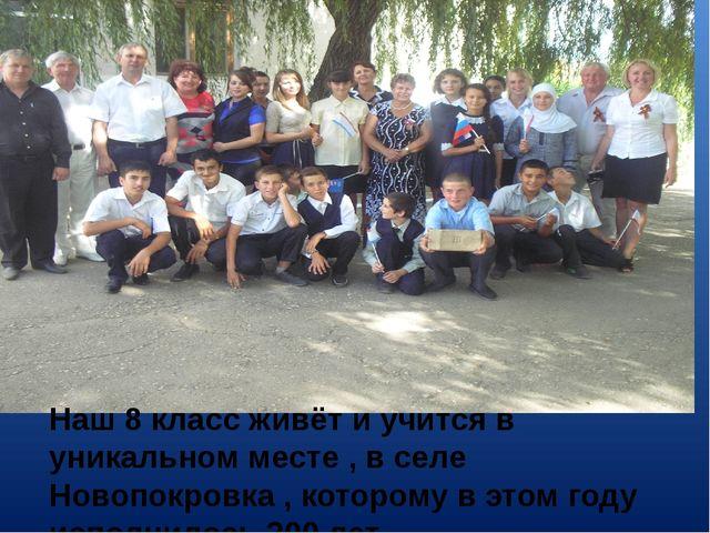Наш 8 класс живёт и учится в уникальном месте , в селе Новопокровка , котором...