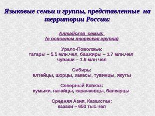 Языковые семьи и группы, представленные на территории России: Алтайская семья
