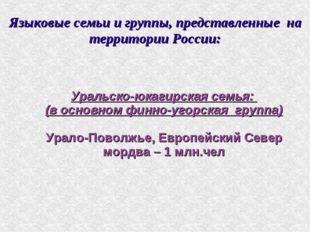 Языковые семьи и группы, представленные на территории России: Уральско-юкагир