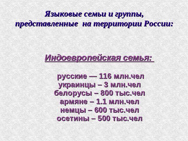 Языковые семьи и группы, представленные на территории России: Индоевропейская...