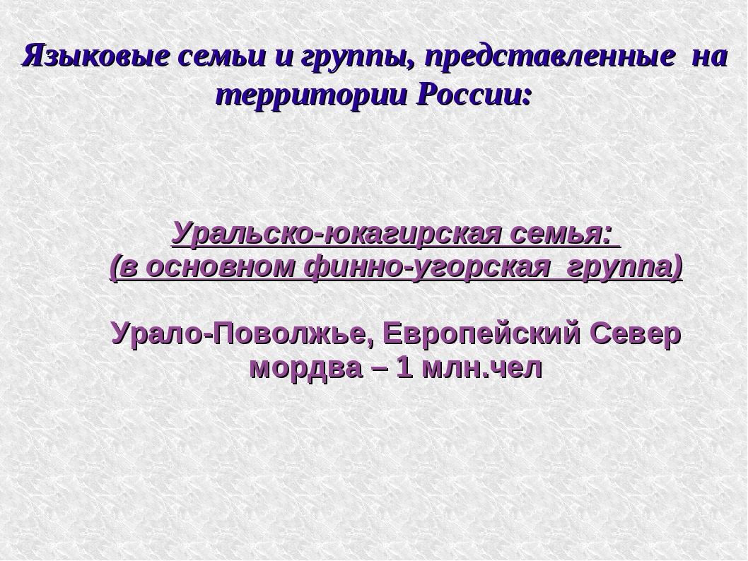 Языковые семьи и группы, представленные на территории России: Уральско-юкагир...