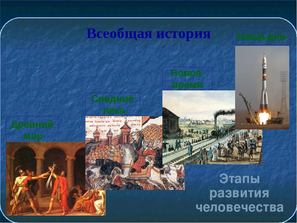 Всеобщая история Этапы развития человечества