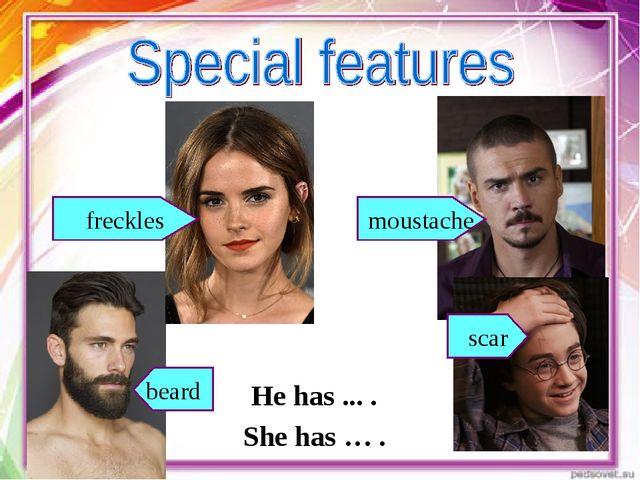 beard moustache scar freckles He has ... . She has … .
