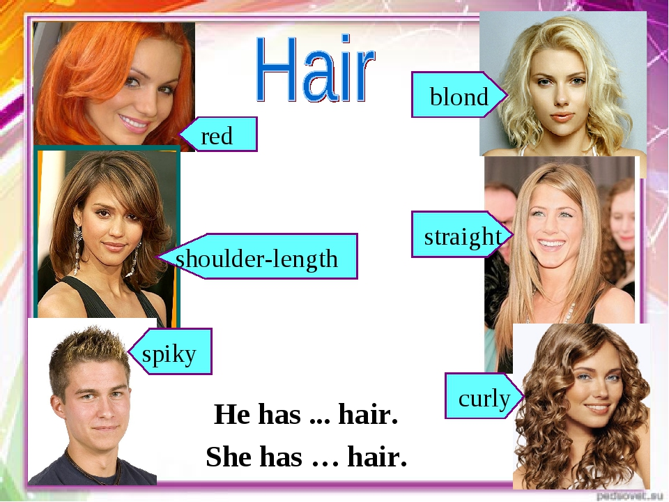 red blond shoulder-length straight He has ... hair. She has … hair. curly spiky
