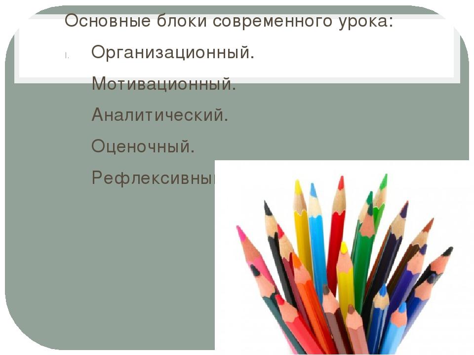 Основные блоки современного урока: Организационный. Мотивационный. Аналитичес...