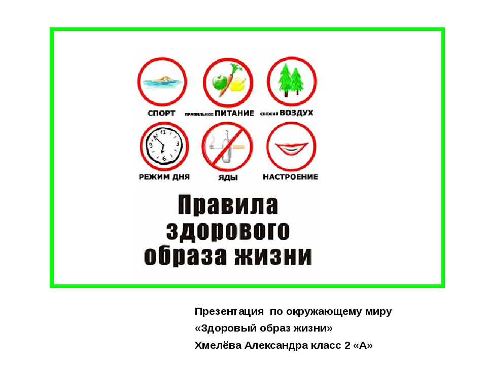 Презентация по окружающему миру «Здоровый образ жизни» Хмелёва Александра кла...