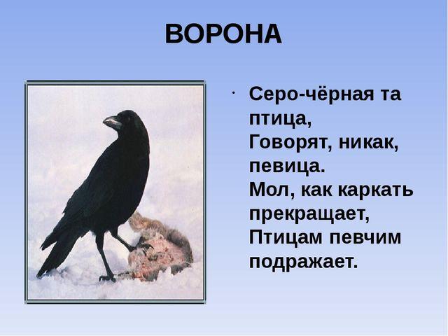 ВОРОНА Серо-чёрная та птица, Говорят, никак, певица. Мол, как каркать прекращ...