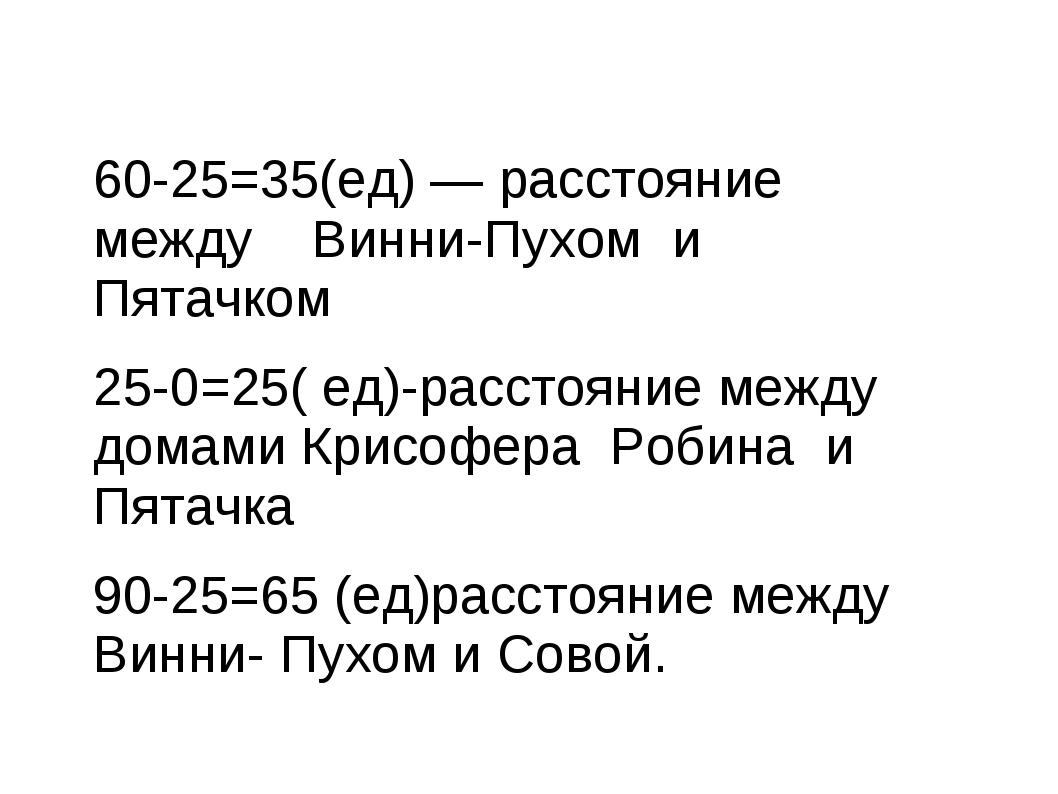 60-25=35(ед) — расстояние между Винни-Пухом и Пятачком 25-0=25( ед)-расстояни...